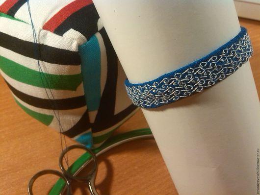 Браслеты ручной работы. Ярмарка Мастеров - ручная работа. Купить Синий льняной браслет с вышивкой. Handmade. Синий, льняной браслет