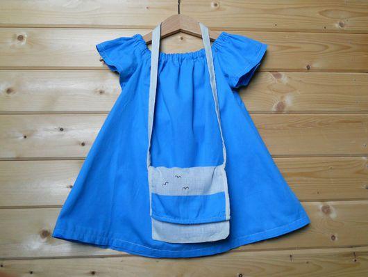 Одежда для девочек, ручной работы. Ярмарка Мастеров - ручная работа. Купить Платье для девочки. Handmade. Синий, лен, сатин