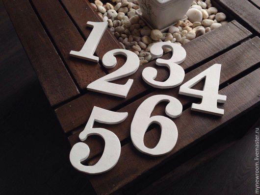 Свадебные аксессуары ручной работы. Ярмарка Мастеров - ручная работа. Купить Номерки деревянные для свадьбы. Handmade. Белый, деревянные надписи