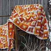 Для дома и интерьера ручной работы. Ярмарка Мастеров - ручная работа Оранжевый плед крючком ажурный. Handmade.