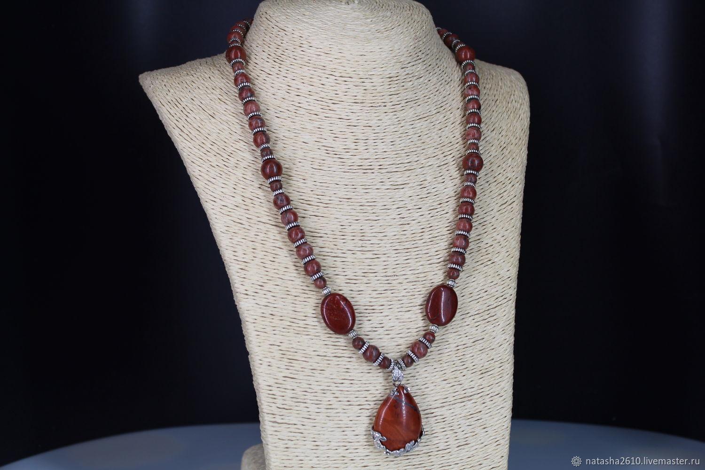 Necklace with Jasper pendant ' Terracotta', Necklace, Velikiy Novgorod,  Фото №1