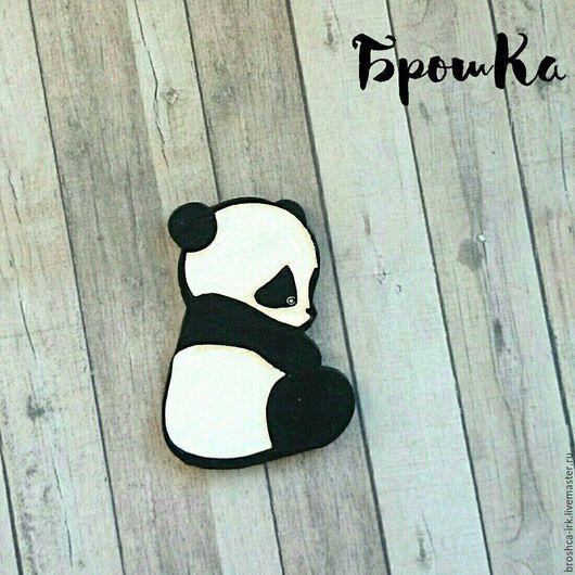 Броши ручной работы. Ярмарка Мастеров - ручная работа. Купить Брошка деревянная Панда. Handmade. Чёрно-белый, брошка, панда