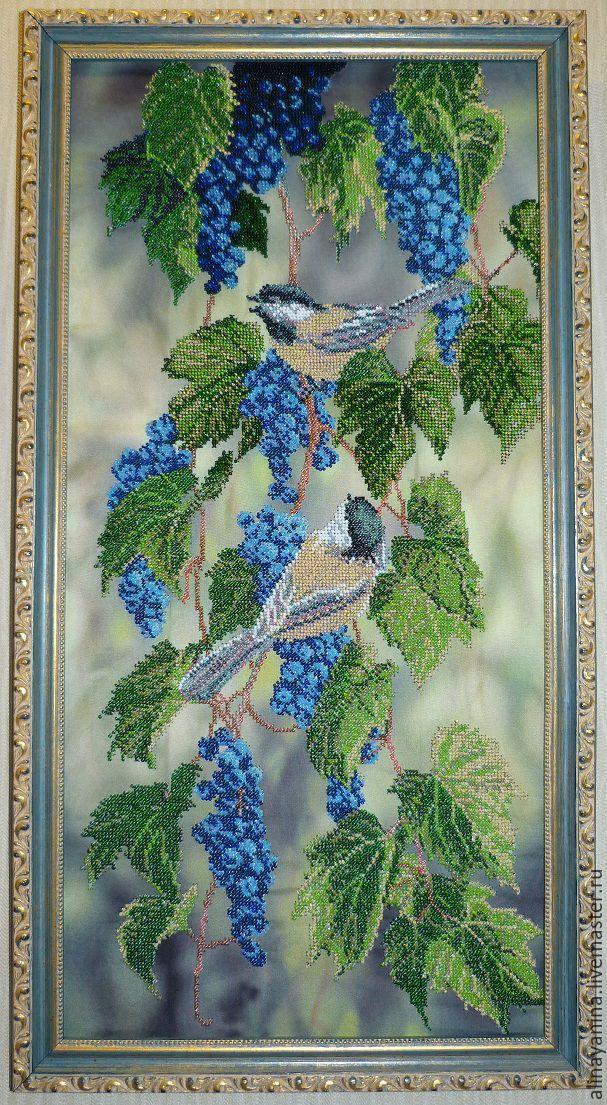 Виноград и птицы вышивка
