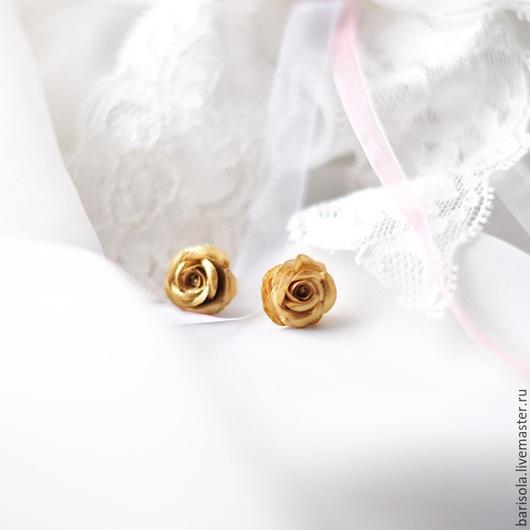 """Серьги ручной работы. Ярмарка Мастеров - ручная работа. Купить Гвоздики """" Золотые розы"""". Handmade. Серьги, гвоздики"""
