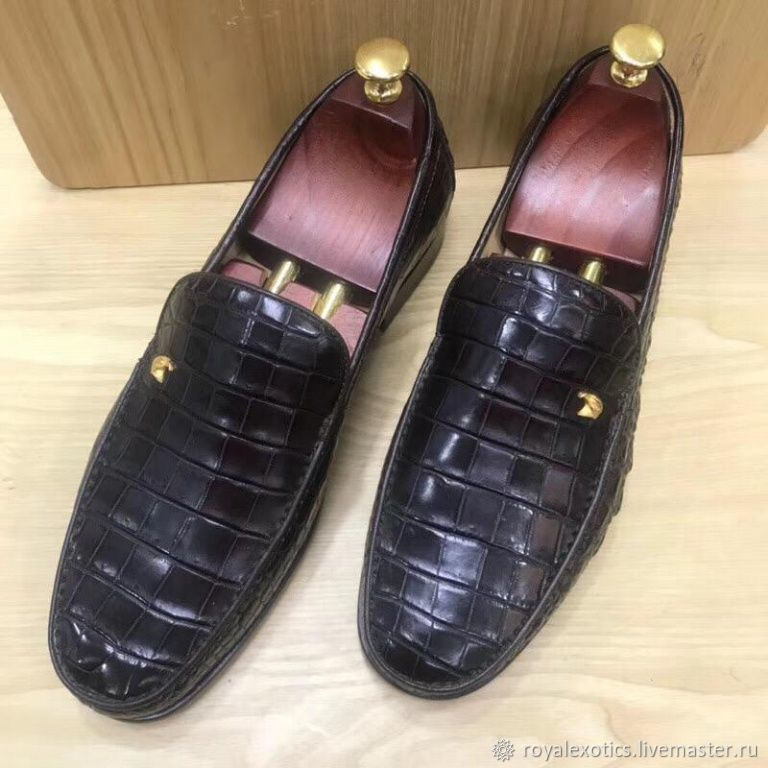 Crocodile leather loafers, in black, Loafers, Tosno,  Фото №1
