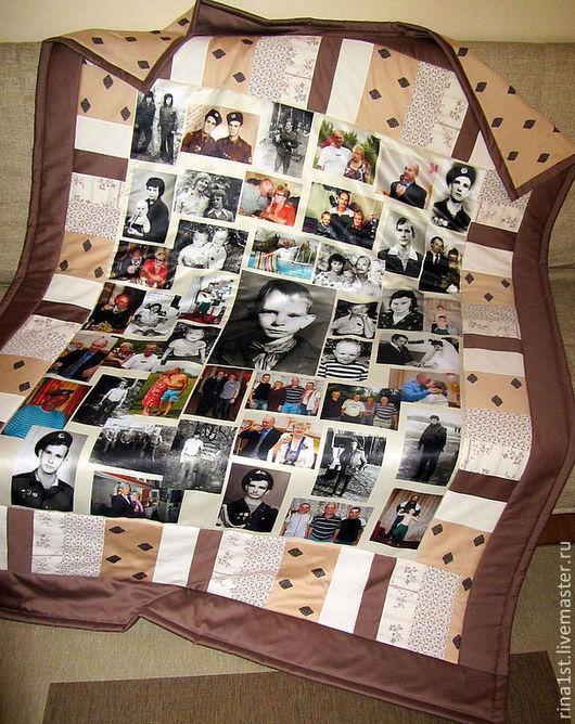 Персональные подарки ручной работы. Ярмарка Мастеров - ручная работа. Купить лоскутные плед с фотопечатью (одело,покрывало с фото). Handmade.