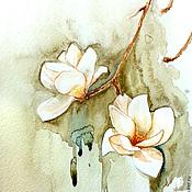 Картины и панно handmade. Livemaster - original item Magnolia watercolor painting. Handmade.