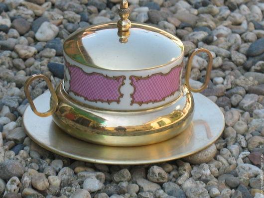 Винтажная посуда. Ярмарка Мастеров - ручная работа. Купить винтажная сахарница на тарелочке. Handmade. Золотой, латунь
