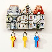Для дома и интерьера handmade. Livemaster - original item Wooden Key holder Small Alpine Houses. Handmade.