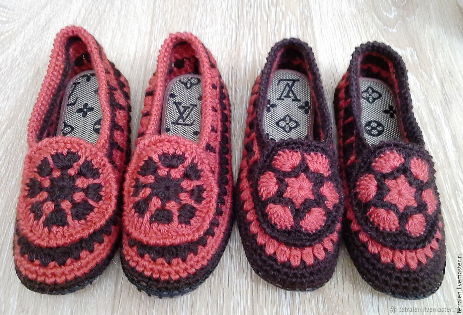 7d4a56e5988aaa My Livemaster Handmade Shoes handmade. Home Slippers crocheted Redheads.  Knitted stuff from Svetlana.
