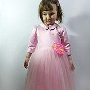 Платье Нежное для девочки из атлас-сатина и еврофатина