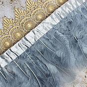Материалы для творчества handmade. Livemaster - original item Feathers on the ribbon Grey, length 12-20 cm, ribbon 10 cm. Handmade.