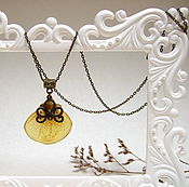 Украшения handmade. Livemaster - original item Pendant Yellow Petal Calceolaria Pendant Jewelry Resin Botany Eco. Handmade.