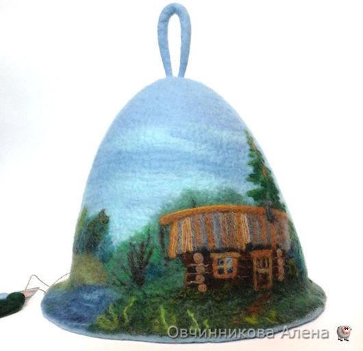 """Банные принадлежности ручной работы. Ярмарка Мастеров - ручная работа. Купить Банная шапка """"Банька"""". Handmade. Комбинированный, валяная шапка"""