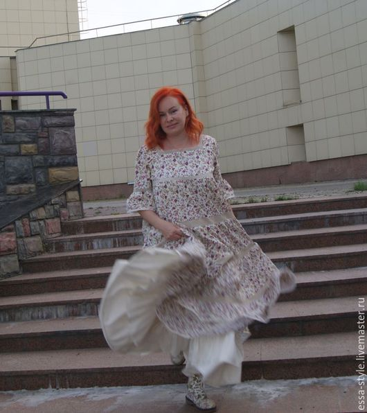 """Платья ручной работы. Ярмарка Мастеров - ручная работа. Купить Бохо-платье """"цветочная поляна"""". Handmade. Комбинированный, платье шелковое"""
