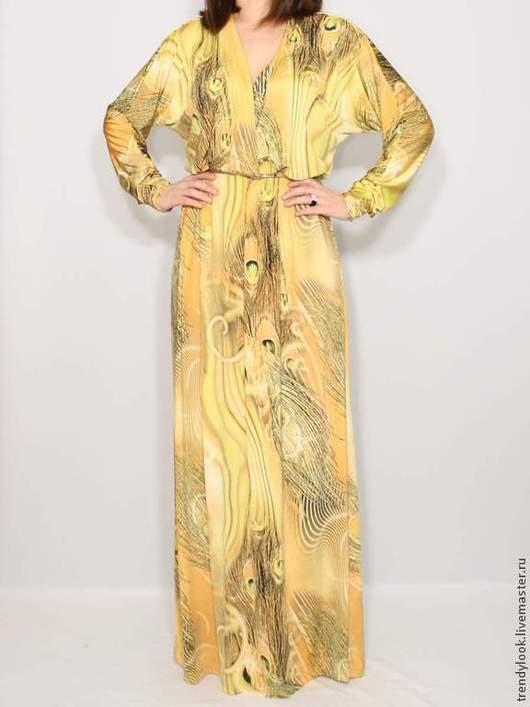 Платья ручной работы. Ярмарка Мастеров - ручная работа. Купить РАЗМЕР 56-58 Желтое платье, длинный рукав летучая мышь,принт павлин. Handmade.