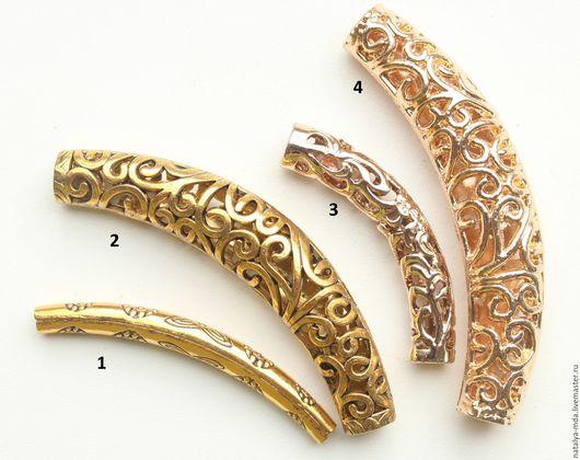 Для украшений ручной работы. Ярмарка Мастеров - ручная работа. Купить Трубочки позолоченные и античное золото. Handmade. Золотой