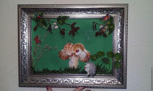 Элементы интерьера ручной работы. Ярмарка Мастеров - ручная работа. Купить Картина из ракушек Ежик с грибом. Handmade. Морские ракушки