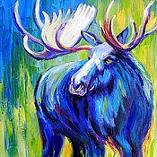 """Картины и панно ручной работы. Ярмарка Мастеров - ручная работа Картина лось """"Король Леса"""" холст масло. Handmade."""