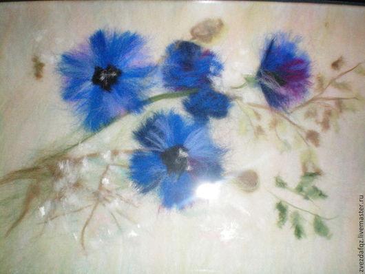"""Картины цветов ручной работы. Ярмарка Мастеров - ручная работа. Купить картина из шерсти """"Нежность"""". Handmade. Разноцветный, васильки, цветы"""