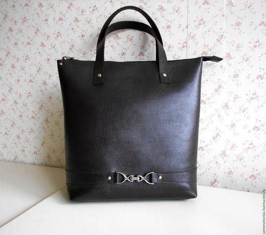 Женские сумки ручной работы. Ярмарка Мастеров - ручная работа. Купить Сумка-пакет без подклада, темно коричневая, кожаная. Handmade.