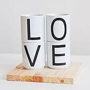 Посуда ручной работы. Ярмарка Мастеров - ручная работа набор стаканчиков LOVE. Handmade.