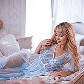 Халаты ручной работы. Ярмарка Мастеров - ручная работа Платье пеньюар Мила, голубое. Handmade.