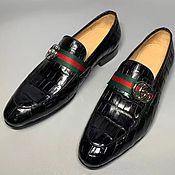 Обувь ручной работы handmade. Livemaster - original item Men`s loafers, made of genuine crocodile leather, black color!. Handmade.