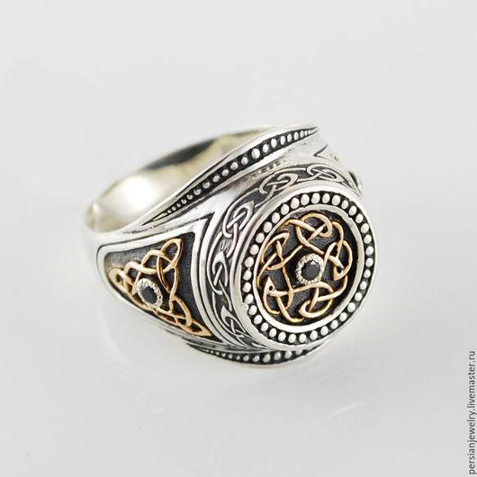 Перстень из серебра 925 проба и золота 585 пробы с и чёрный цирконом (3 шт) Персиан persianjewelry.ru