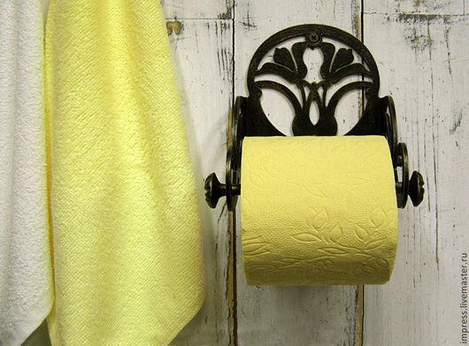 Ванная комната ручной работы. Ярмарка Мастеров - ручная работа. Купить держатель для туалетной бумаги Лилии. Handmade. Черный