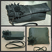 Сумки и аксессуары handmade. Livemaster - original item Leather large clutch bag with flower art-1-34. Handmade.