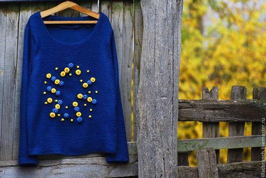 """Кофты и свитера ручной работы. Ярмарка Мастеров - ручная работа. Купить Свитшот""""Синий"""". Handmade. Тёмно-синий, свитер, кардиган крючком"""