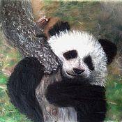 Картины и панно handmade. Livemaster - original item Wool picture Panda-panda. Handmade.