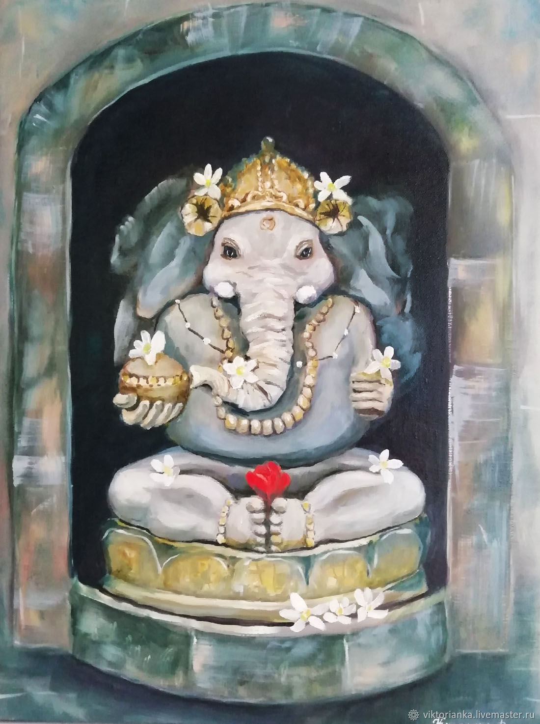 Zen oil Painting Ganesh and Lotus, Pictures, Yevpatoriya,  Фото №1