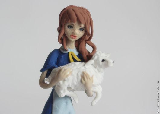 Человечки ручной работы. Ярмарка Мастеров - ручная работа. Купить Девочка с овечкой. Handmade. Синий, девочка, фигурка