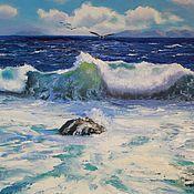 """Картины и панно ручной работы. Ярмарка Мастеров - ручная работа Картина маслом на холсте, море """"Прозрачная волна на море"""". Handmade."""