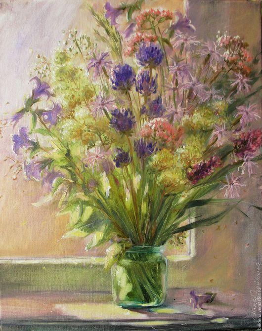 Картины цветов ручной работы. Ярмарка Мастеров - ручная работа. Купить Ароматные травы. Handmade. Сиреневый, холст на подрамнике