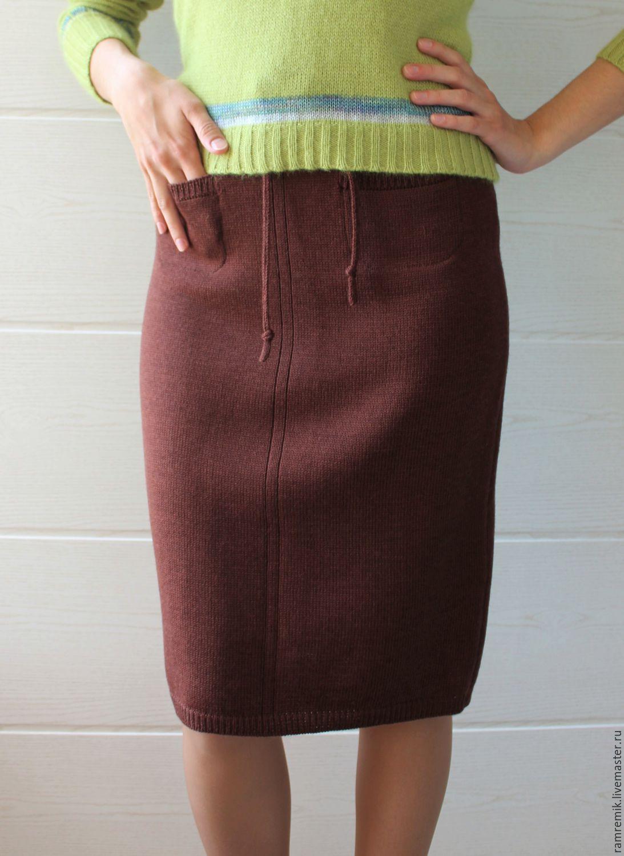 Трикотажная вязаная юбка купить