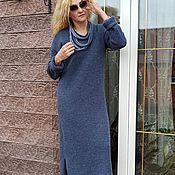 Одежда handmade. Livemaster - original item Classic blue ALPACA ROYAL dress. Handmade.