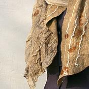Аксессуары ручной работы. Ярмарка Мастеров - ручная работа Валяный шарф эко принт, нуно-войлок. Handmade.