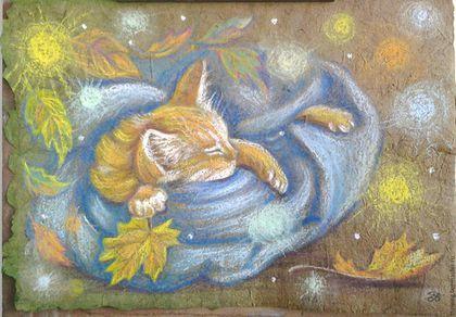 """Животные ручной работы. Ярмарка Мастеров - ручная работа. Купить Картина """"Волшебные осени сны"""". Handmade. Оливковый, уютная картина"""