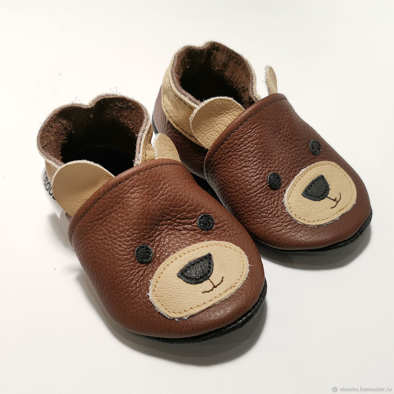 Teddy Bear Slippers, Leather Baby Shoes, Brown Baby Shoes, Footwear for childrens, Kharkiv,  Фото №1
