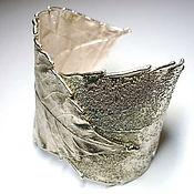 Украшения ручной работы. Ярмарка Мастеров - ручная работа Браслет Лист, медь посеребренная. Handmade.