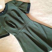 Одежда ручной работы. Ярмарка Мастеров - ручная работа Платье офисное зеленое из трикотажа. Handmade.
