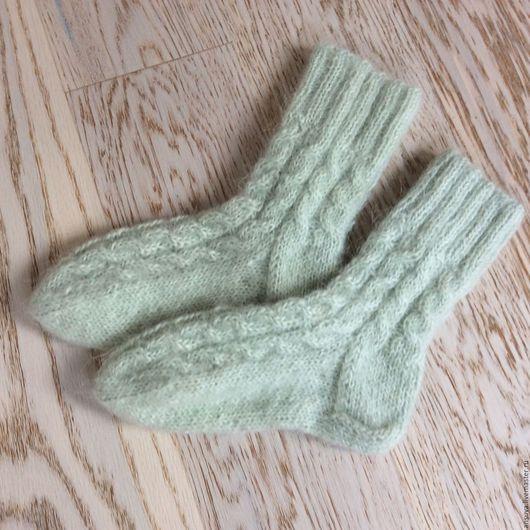 """Носки, Чулки ручной работы. Ярмарка Мастеров - ручная работа. Купить Вязаные носки """"Мятные"""". Handmade. Мятный, вязаные носки"""