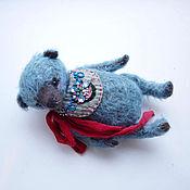 Куклы и игрушки ручной работы. Ярмарка Мастеров - ручная работа голубой мишка из мохера. Handmade.