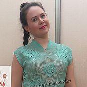 Одежда ручной работы. Ярмарка Мастеров - ручная работа Летнее вязаное платье «Бирюзовая сюита». Handmade.