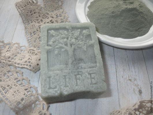 Мыло ручной работы. Ярмарка Мастеров - ручная работа. Купить Мыло с голубой глиной.. Handmade. Серый, мыло, виноградная косточка
