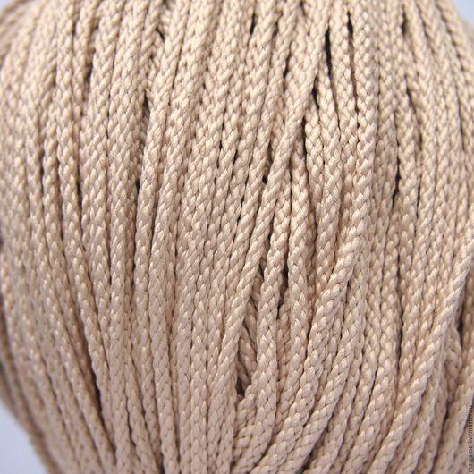 Для украшений ручной работы. Ярмарка Мастеров - ручная работа. Купить Шнур плетеный полиэфирный 3,5 мм светло-бежевый. Handmade.