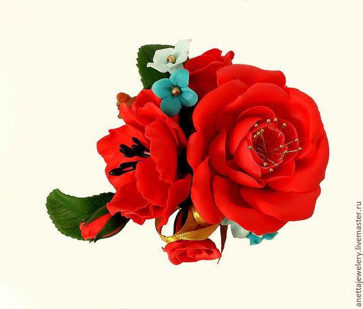 Броши ручной работы. Ярмарка Мастеров - ручная работа. Купить Брошь красная Фламенко. Handmade. Алый, подарок на новый год, фламенко